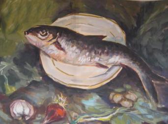 在画鱼的过程中多注意色彩冷暖的推进,从而表现出鱼的立体惑和空间镶.